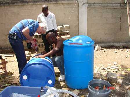 Jerry working on a water filter
