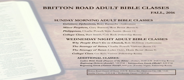 Fall 2016 Bible Classes