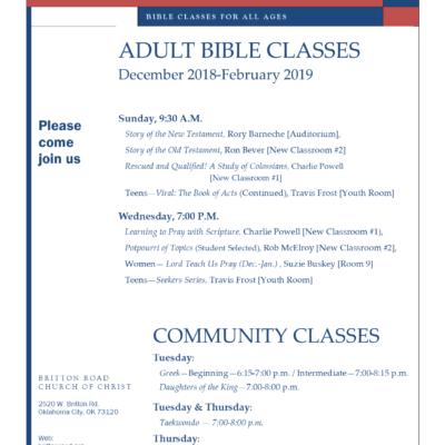 Adult Bible Classes Dec 18 – Feb 19 – Britton Road Church of Christ